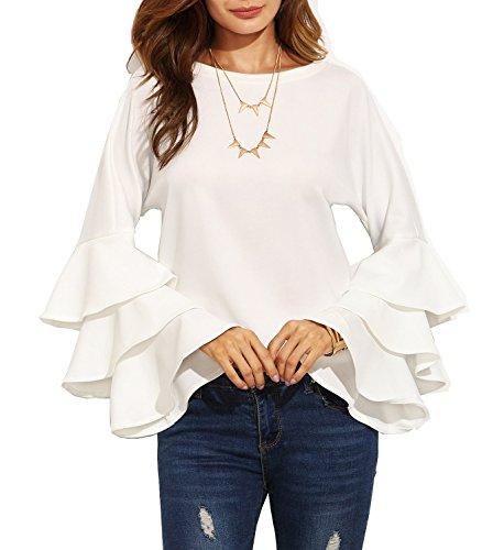 Verochic Women's Round Neck Ruffle Long Sleeve Blouse (White, S) (Neck Jacket Ruffle)