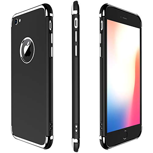 Vanity Classical (iPhone 7 Case, Meifigno 3 in 1 Stylish Soft TPU Case [Shock Absorption] with Premium Air Bumper Protection [Compatible with Wireless Charging] for Apple iPhone 8 Phone / 7 Phone Case - Black)