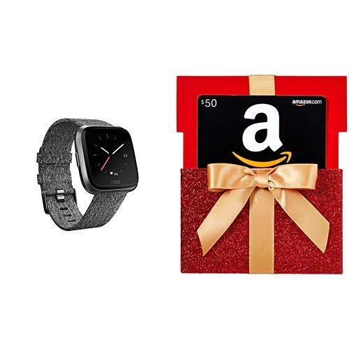 Fitbit Versa Special Edition Smart Watch, Charcoal Woven, One Size (S & L Bands Included) with $50 Gift Card