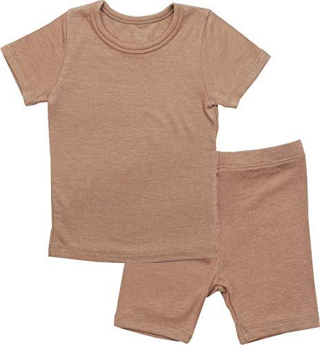 Cotton Knit Romper - AVAUMA Newborn Baby Little Boys Snug-Fit Pajamas Summer Short Sets Pjs Kids Clothes (JM/Camel)