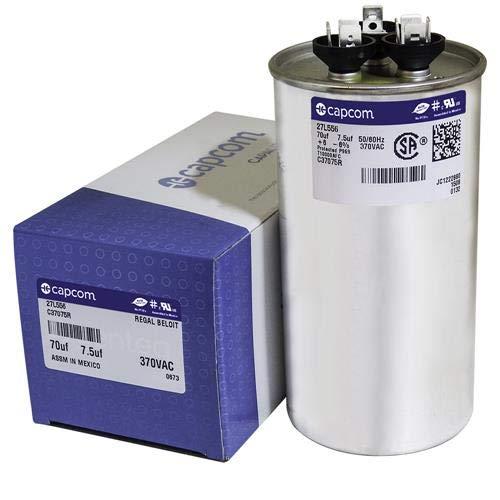 GE Genteq Round Capacitor 70 7.5 uf MFD 370 Volt 27L556BZ3 27L556