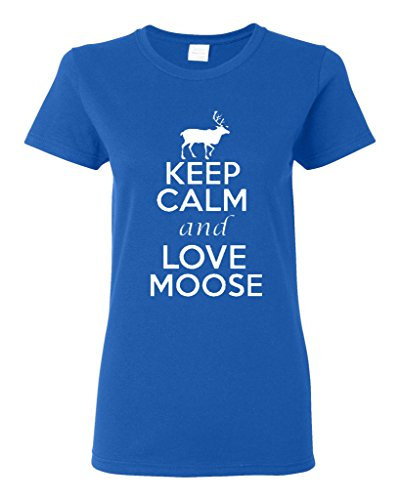 Ladies Keep Calm And Love Elk Animals T-Shirt Tee