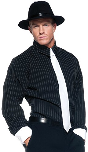 Striped Gangster Shirt (Underwraps Mens Striped Shirt Theme Party Fancy Gangster Costume, One Size (42-46))