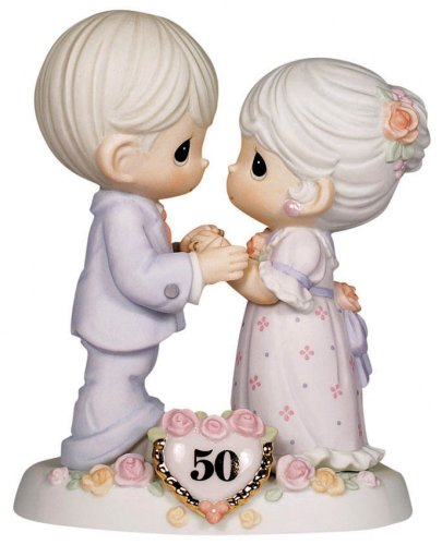 (Precious Moments,  We Share A Love Forever Young, 50th Anniversary, Bisque Porcelain Bisque Porcelain Figurine, 115912)