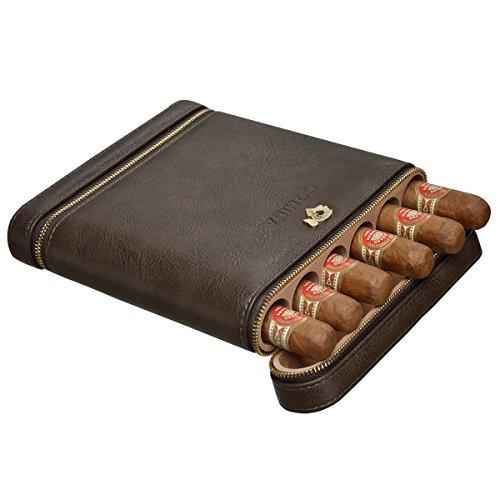 (CIGARLOONG Cigar Humidor Travel Case Built-in Cedar Wood Portable 6 Cigars Box)