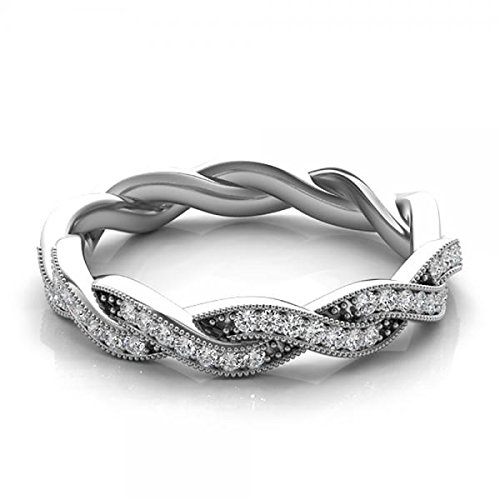 Twisted Diamond Wedding Ring ((0.20ct 14k White Gold Diamond Accented Milgrain Edging Twisted Infinity Style Wedding Band )