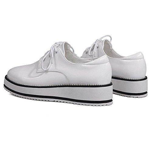 Plateforme De Dentelle Plate Femmes Dentelle Up Femmes Chaussures Taoffen Blanc Y6C8xqwH