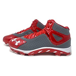 Under Armour Mens Spine Heater Mid TPU Baseball Cleats (8 D(M) US, Baseball Grey/Red)