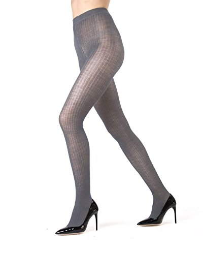 Memoi Merino Wool Ribbed Sweater Tights | Luxury Hosiery - Nylons Dark Grey Heather ML 511 ()