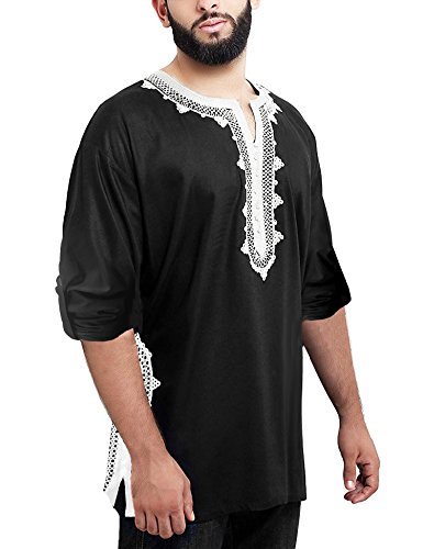 Daupanzees Men Tunic Tops Caftan Breathable Fiber Morocco Bright Dashiki Cotton Tee Unisex Handmade Moroccan Embroidery Shirt Unisex African Ethnic T-Shirt (Black XXL)