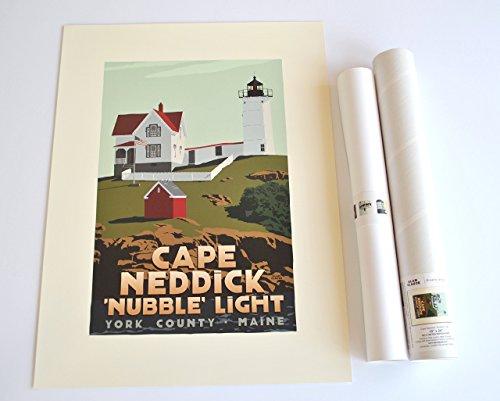 Cape Neddick 'Nubble' Light, Maine Print (18x24 Lighthouse Travel Poster, Wall Decor (Cape Neddick Lighthouse)