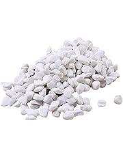 الحصى البيضاء المزخرفة الطبيعية - 2.27 كجم من الصخور البيضاء للنباتات وخزان الأسماك والمزهريات ورفرف الأرصفة وحصى حوض السمك وحصى البازلاء والأزهار والملابس العلوية (مقاس متوسط)