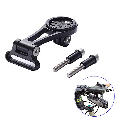 Best Tek Cycling Garmin GoPro Combo Mount, Adjustable Angle Garmin Edge Out-Front Handlebar Bike Mount for NiteRider Adapter, Gopro Sports Action Camera,Garmin Edge 25 130 200 500 510 520 800 810 820