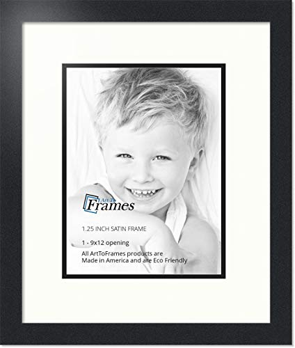 (Art to Frames Double-Multimat-639-754/89-FRBW26079 Collage Photo Frame Double Mat with 1 - 9x12 Openings and Satin Black Frame)