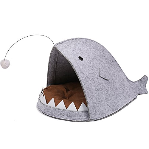 Creation Core Unique Shark-shaped Felt Cat Bed Nest with Mat and Fur Ball(L)