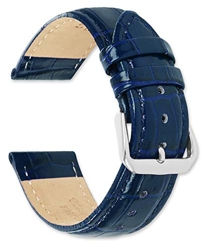 Crocodile Grain Leather Watch Strap/Watch Band - Navy Blue (Long Length) 24mm ()