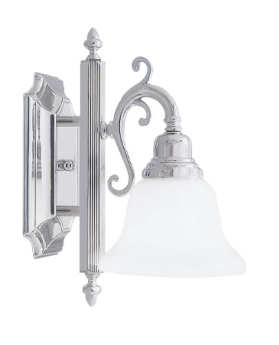 Livex Lighting 1281-05 Bath Vanity with White Alabaster Glass Shades, Chrome ()