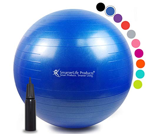 Exercise Ball for Yoga, Balance, Stability from SmarterLife - Fitness, Pilates, Birthing, Therapy, Office Ball Chair, Classroom Flexible Seating - Anti Burst, Non Slip + Workout Guide (Blue, 55cm) (Best Exercise For Height)
