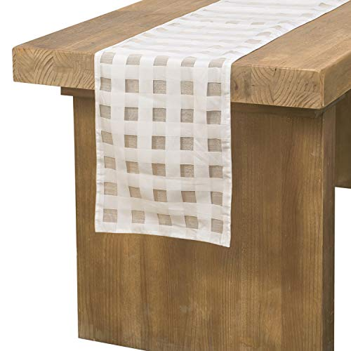 Ling's moment Premium Cream Plaid Table Runner Double-Sided Buffalo Check Plaid Design for Elegant Décor Indoor&Outdoor Events,White and Cream(12
