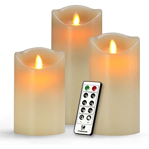Comenzar Battery Operated 5-Inch, 6-Inch, 7-Inch Flickering Flameless LED Candles with 10-Key Remote Timer, Set of 3
