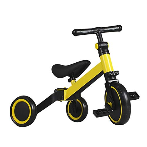 J Kids Tricycle Upgraded 2-in-1 Children Ride On Trike with Basket Suitable for 1 Year Old - 5 Years Old Baby Riding Red Yellow White