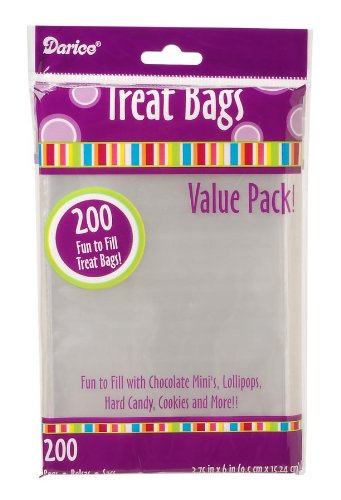 "Darice Clear Treat Bags Value Pack – 3.75""x6"" Transparent Bags – Perfect for Cake Pops, Cookies, Small Candy, Wedding and Party Favors, Lollipops and More – 200 Clear -"