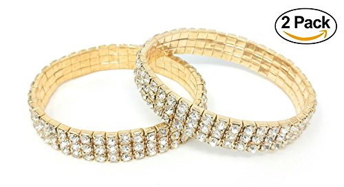 3 Row Stretch Rhinestone Bracelet - SIMPLICHIC Single Pack, Pack of 2, 3 Row Rhinestone Stretch Bracelet Gold-Tone Silver-Tone