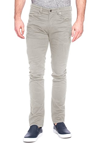 paperdenim&cloth Mens Designer 5 Pocket Stretch Fitted Skinny Twill Chino Pants - New Khaki, 34/32