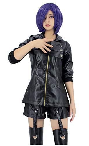 DAZCOS US Size Anime Touka Kirishima Leather Clothing Cosplay Costume (Women M) Black]()