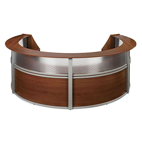 Marque Four Piece Reception Station with Plexi - 142''W x 90''D Cherry Finish/Silver Accents Dimensions: 142''W x 90''D x 45.5''H Weight: 492 lbs. by OFM