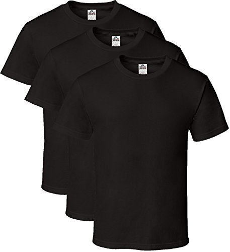 Alstyle Men's Classic Cotton Crew Neck Short Sleeve Plain T-Shirt 3-Pack-Assorted (X-Large, Black, Black, Black) from Alstyle Apparel