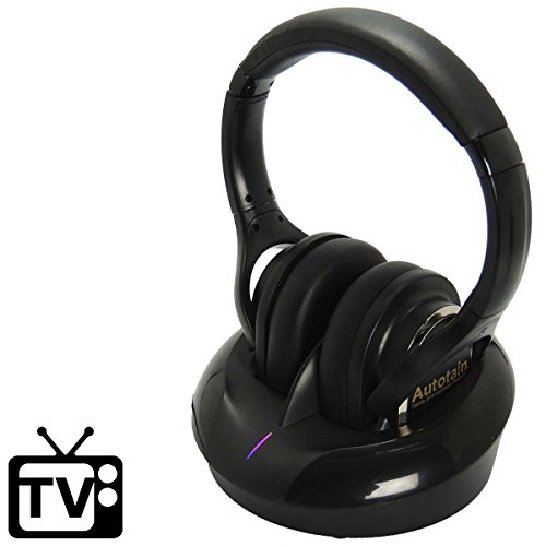 Autotain Wireless TV Headphones [No Latency] Hearing Aid - Charging Dock - RF FM Stereo - Optical, RCA, 3.5mm, Coaxial - 3 Channel - Air Station Docking For Radio