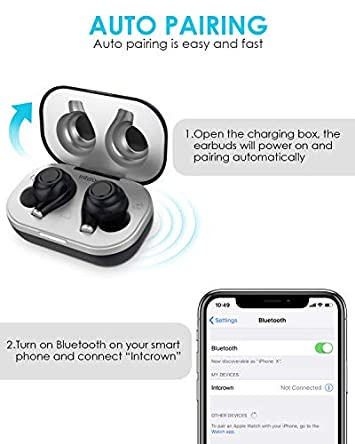Intcrown True Wireless Earbuds,Bluetooth 5.0 Headphones,IPX7 Waterproof,20H Total Playtime,Fit Comfortable and Stable in Ear for Gym Running,HD Sound,Deep Bass,Auto Pairing