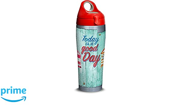 106190b214b Amazon.com: Tervis 1316699 A Good Day Cabanas Stainless Steel Insulated  Tumbler with Lid 24 oz Water Bottle Silver: Kitchen & Dining