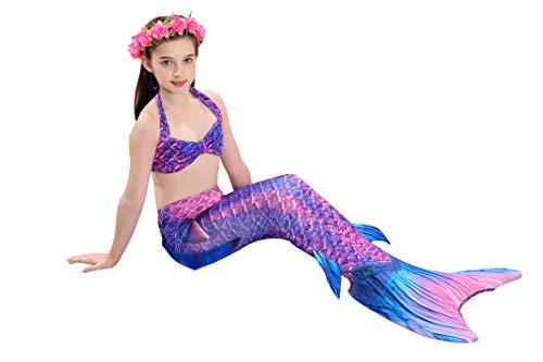 291fb4b62446a 2019 3 Pcs Mermaid Costume for Girls Bathing Swimsuit Swimwear Princess Sea-Maid  Bikini Set