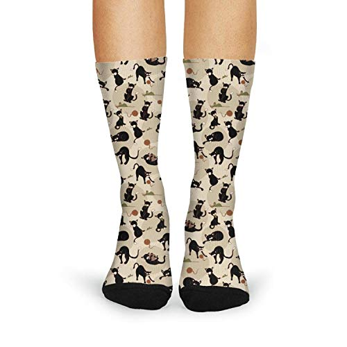(Black Cats Play Balls and Mice Women's Crew Socks Cotton Casual Cool Long Ankle Socks Athletic Socks)