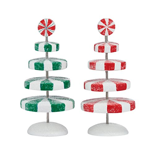 (Department 56 Accessories for Villages Peppermint Christmas Trees Accessory Figurine, 4.06 inch)