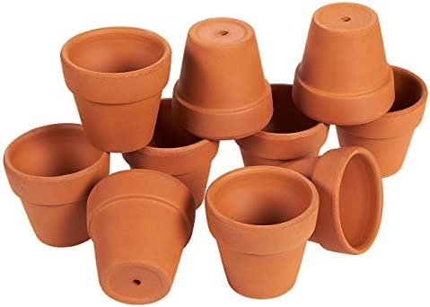 Terra Cotta Pots – 10-Count Terracotta Pots, 2.6-Inch Mini Flower Pots with Drainage Holes, Clay Flower Pots Small Ceramic Pottery Nursery Planters for Cacti and Succulent Plants