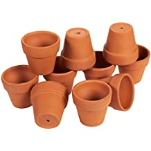 Set of 10 Terra Cotta Pots - Clay Flower Pots, Mini Flower Pot Planters for Indoor, Outdoor Plant, Succulent Display, Brown - 1.6 x 2.5 Inches