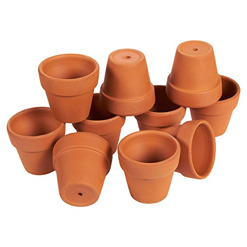 Set of 10 Terra Cotta Pots - Clay Flower Pots, Mini Flower Pot Planters for Indoor, Outdoor Plant, Succulent Display, Brown - 1.6 x 2.5 Inches (Terracotta Pot)