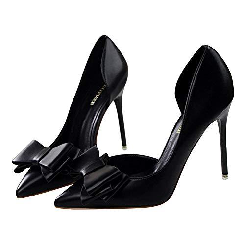 Mariage Noir Talon Parti Mariée Léger Tenthree Heels Escarpins Chaussures Stiletto Talons Pompes Bow Femme Hauts Elégant Robe Bout Femmes High Mode Creux Pointu xqBTRw7x
