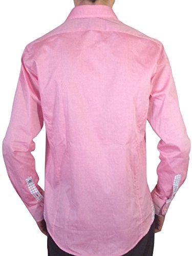 Lot de Trois Chemises Aragaza Homme-Noir-Rose-Rouge-Coupe Slim Fit Ajustée-95% Coton 5% Elasthanne-Ultrapremium-Made In Spain