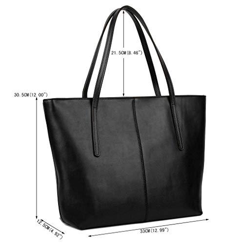 Epaule Noir Yaluxe Femme en Simple Sac Cuir Enduit Portes Cabas Veau Bandoulière à Main Vogue qZZBYax4