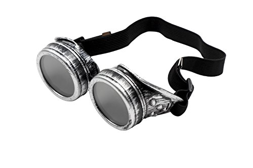 Steampunk Goggles - Vintage Victorian Style Glasses, Costume Accessories, Silver -