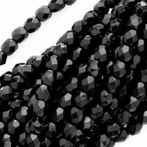 UnCommon Artistry Jet Black Czech Fire Polished 4mm Beads (50)