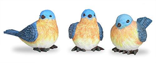 Bluebird Figurines Set of 3 Styles 4 Inch (Bird Resin Figurines)