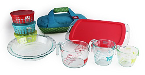 Pyrex 100 Year 14-Piece Vintage Future Glass Bakeware and Food Storage Set