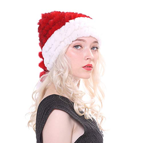 URSFUR Santa Hat for Adults Marry Christmas Beanie Winter Slouch Skull Rabbit Fur Hats with Pompom Red