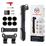 BeSpoke Cycling Gear Mini Bike Pump & Puncture Repair Kit - Dual Nozzle fits All Valve Types - Compact & Lightweight - attaches Easily to Bike Frame - Pumps All Bicycle tire Tubes (Presta & Schrader)
