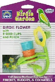 Vo-Toys Birdie Flower with Two Seed Cups and Perch Bird Toy Assorted Colors, My Pet Supplies